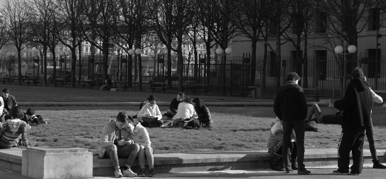 real people, men, sitting, building exterior, outdoors, tree, leisure activity, full length, lifestyles, built structure, architecture, togetherness, day, bare tree, city, nature, mammal, adult, people