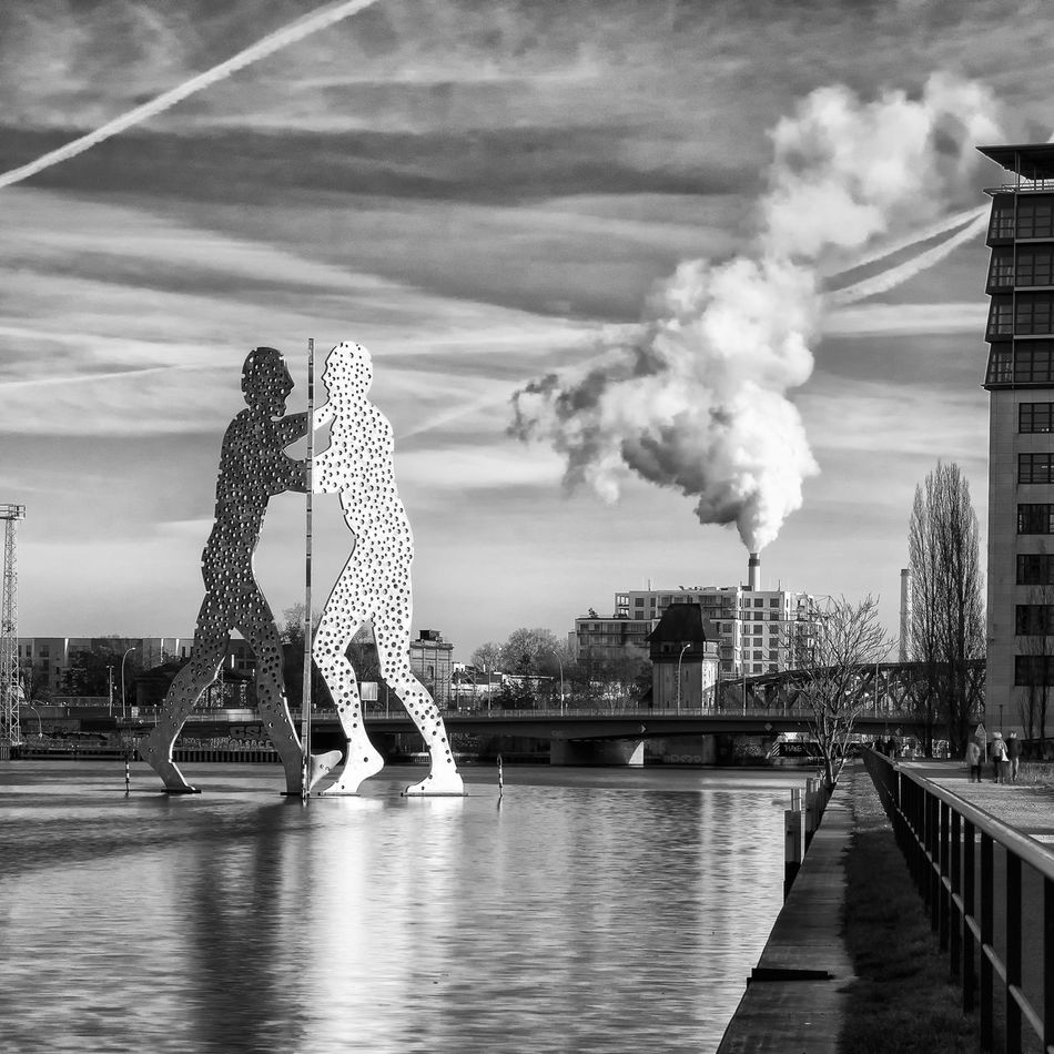 Architecture City Day Dramatic Sky Molecule Man No People Outdoors Reflection Reflections River Sky Smoke - Physical Structure Spree Urban Urban Landscape Water