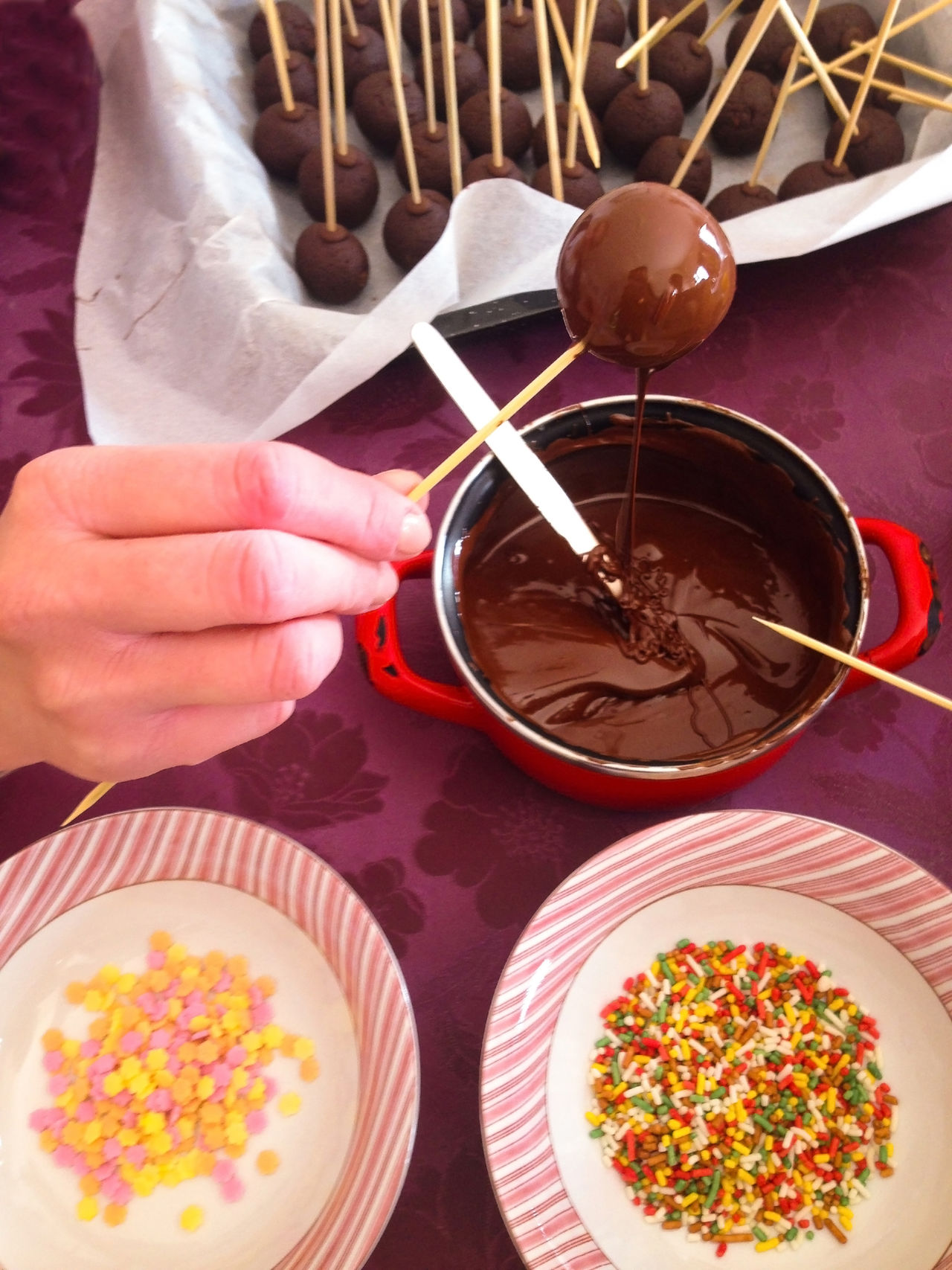Woman making chocolate cakepops Bowl Cake Cakepop Cakepops Chocolate Close-up Cuisine Dessert Food Food And Drink Indoors  Making Overhead View Plate Popcake Preparation  Sprinkles Sweet Food Table Top Perspective Variation