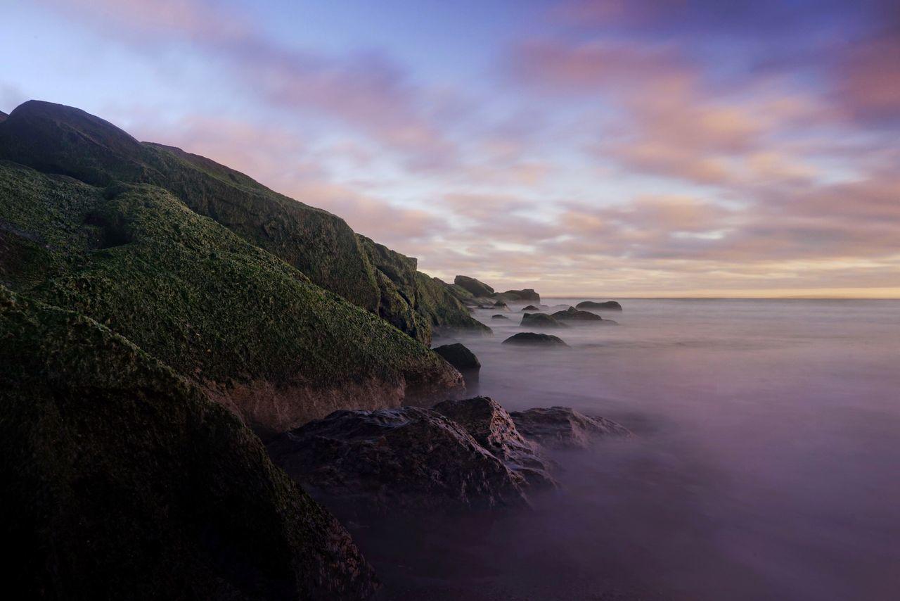 Beach Mist Ocean Mountains Sunset Rocks