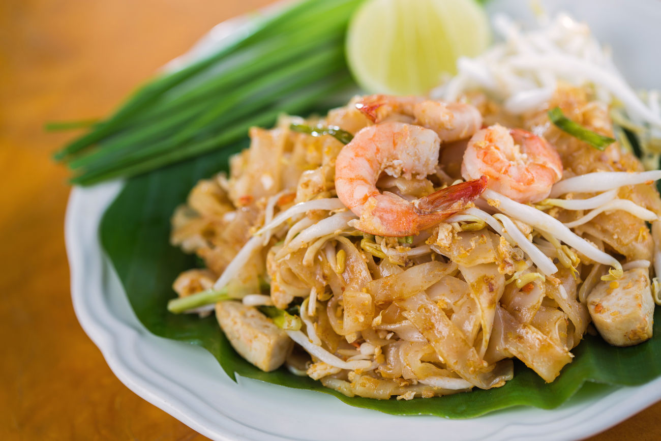 PadThai, Thai Food Close-up Day Delicious Food Food And Drink Food And Drink Freshness Healthy Eating Indoors  No People Pad Thai Padthai Plate Prawn Ready-to-eat Scallion Seafood Shrimp Studio Studio Shot Thai Thai Food Thailand Yummy