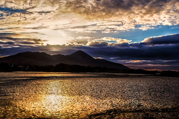 Croagh Patrick #croagh Patrick #low Water #ocean #westport Beauty In Nature Cloud - Sky Landscape Mountain Nature Sky Sunset