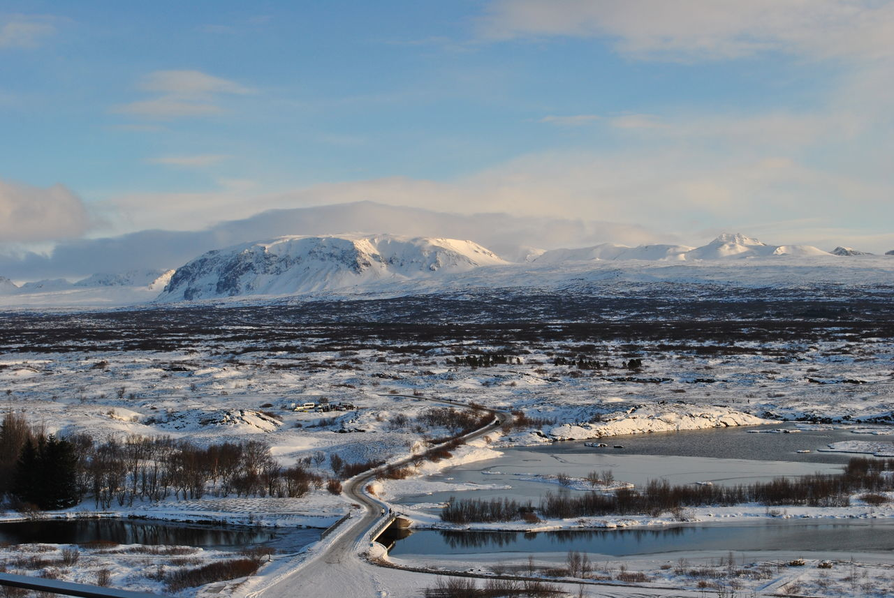 Thingvellir National Park. Beauty In Nature Cold Temperature Day Iceland Mountain Mountain Range Nature No People Outdoors Reykjavik Scenics Sky Snow Thingvellir National Park Tranquil Scene Tranquility Travel Weather Winter