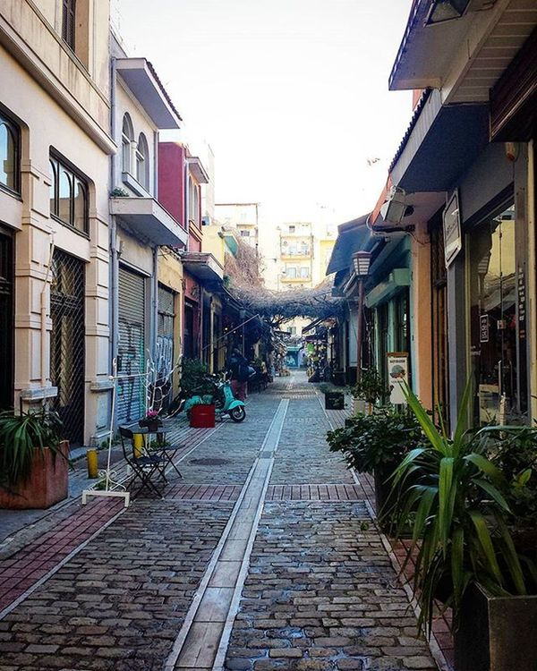 Road Inthessalonikicom Walk Streetphotography City Center Downtown Architecture Vintage Renovation Stores Beautiful Plants Colours White Blue Orange Yellow Cream Grey Red Green Photography Samsung Galaxy S4 thessaloniki Greece skg