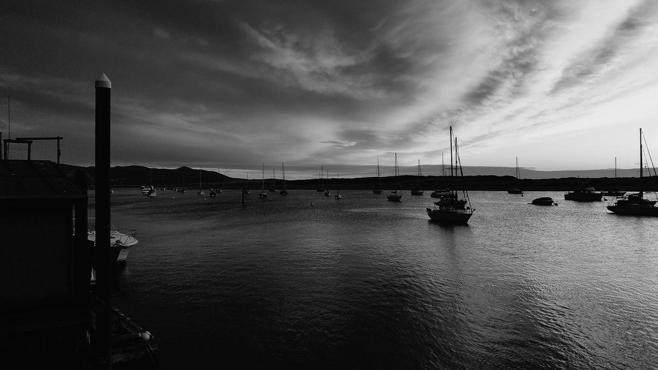 Sunset No People Dramatic Sky Nautical Vessel Outdoors Sky Sea And Sky Harbor Cloud - Sky Sea Water Dramatic Sky Black&white Black And White Portrait Ocean