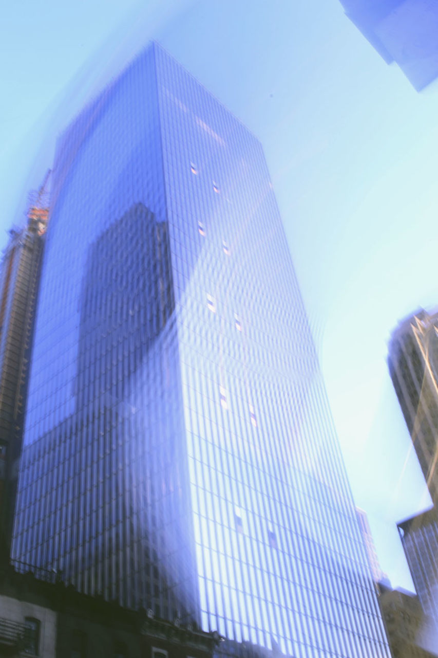 architecture, no people, building exterior, built structure, skyscraper, low angle view, blue, city, outdoors, day, sky, close-up