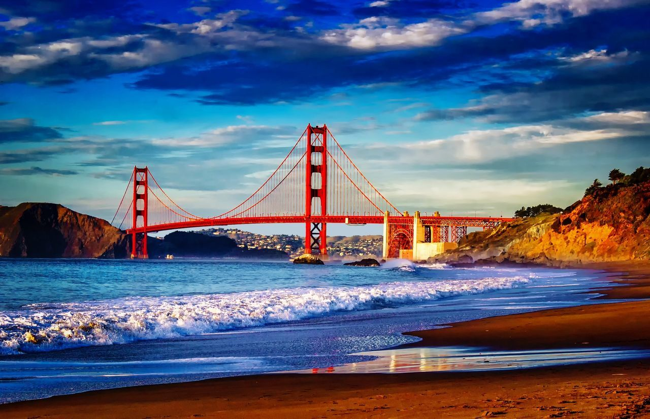 Golden Gate Bridge from Baker Beach in San Francisco. Sunset Bridge, Architecture, San Francisco Golden Gate Bridge Beach Bridge Bridgeporn Golden Hour Sunsets Skies Clouds Golden Hours San Francisco