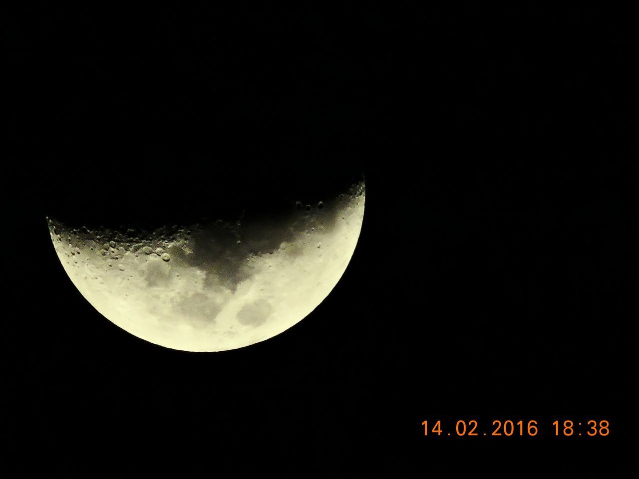 moon, night, astronomy, copy space, beauty in nature, planetary moon, low angle view, nature, moon surface, half moon, scenics, sky, tranquility, outdoors, clear sky, no people, illuminated, crescent, close-up