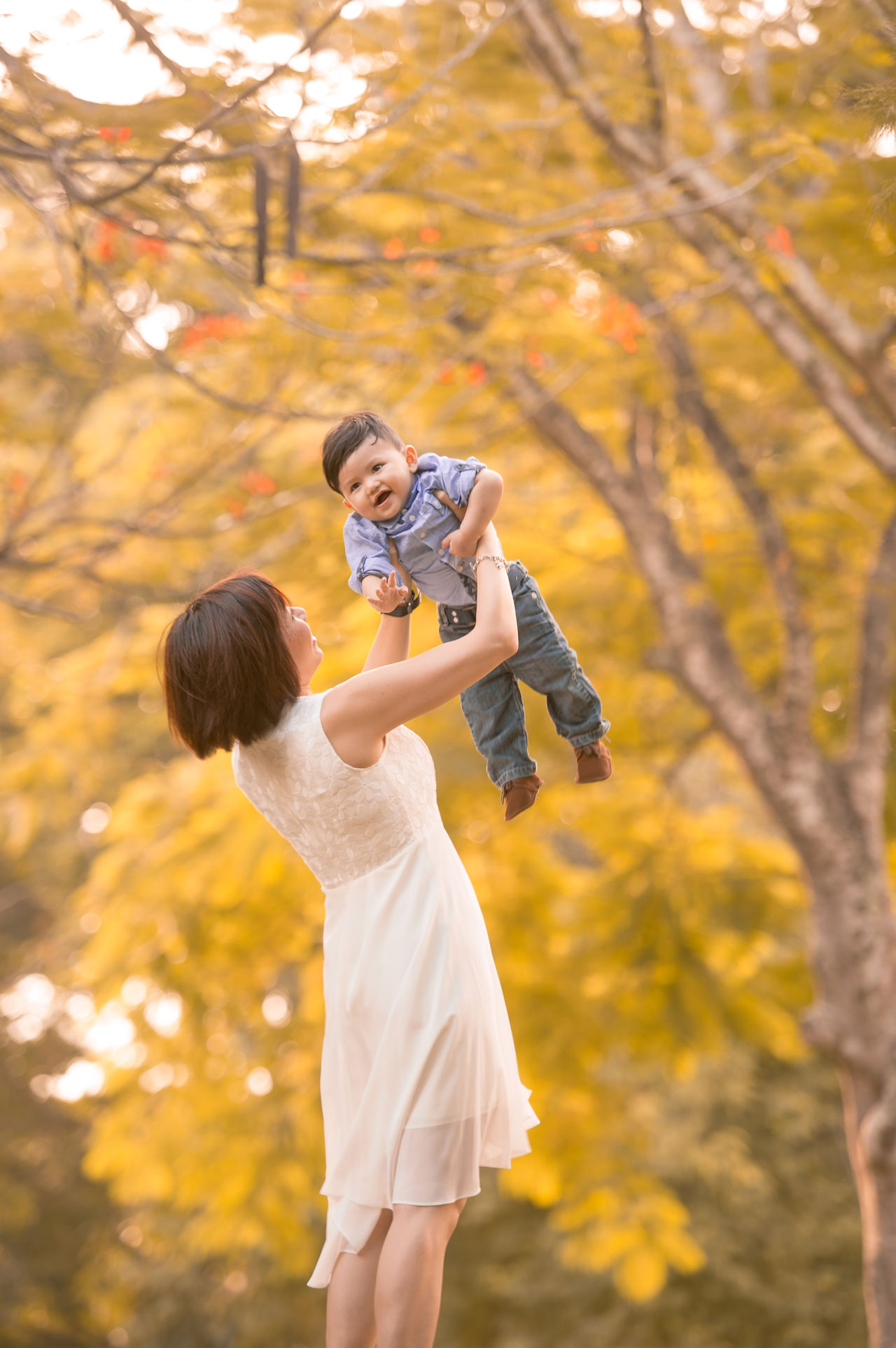 Chinese Family ASIA Asian  Asian Family Autumn Bonding Boys Change Childhood Chinese Day Family With One Child Father Focus On Foreground Leaf Leisure Activity Lifestyles Love Mid Adult Men Nature Outdoors Real People Son Togetherness Tree Young Women
