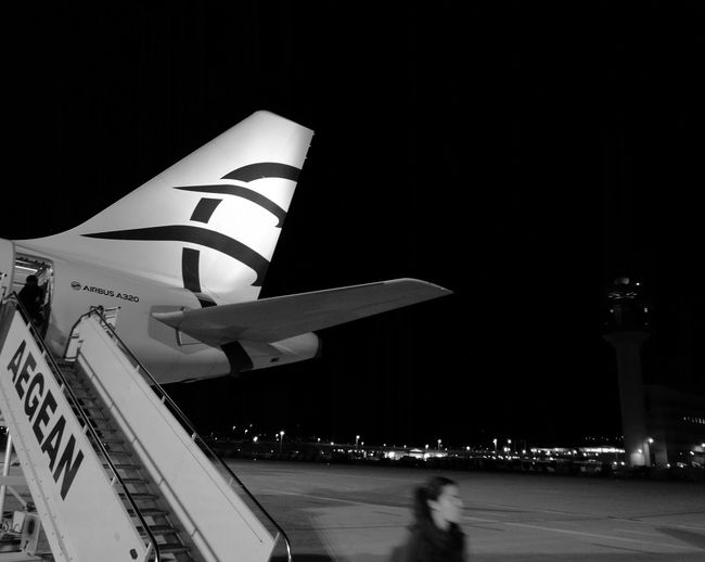 Night Plane Aircraft Plane Tail Livery Airport Airport Photography Airbus A320 Airbus Aegean Airlines Athens Airport
