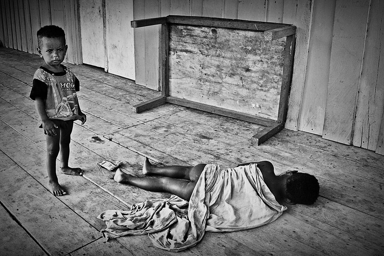 Nap Times. Boys Nap Sleeping Time Living Like Local Local People Native People People And Places Social Issue Monochrome Blackandwhite Fineart Humaninterest Portrait Of Children Indonesia Culture Papua Barat Nusantara