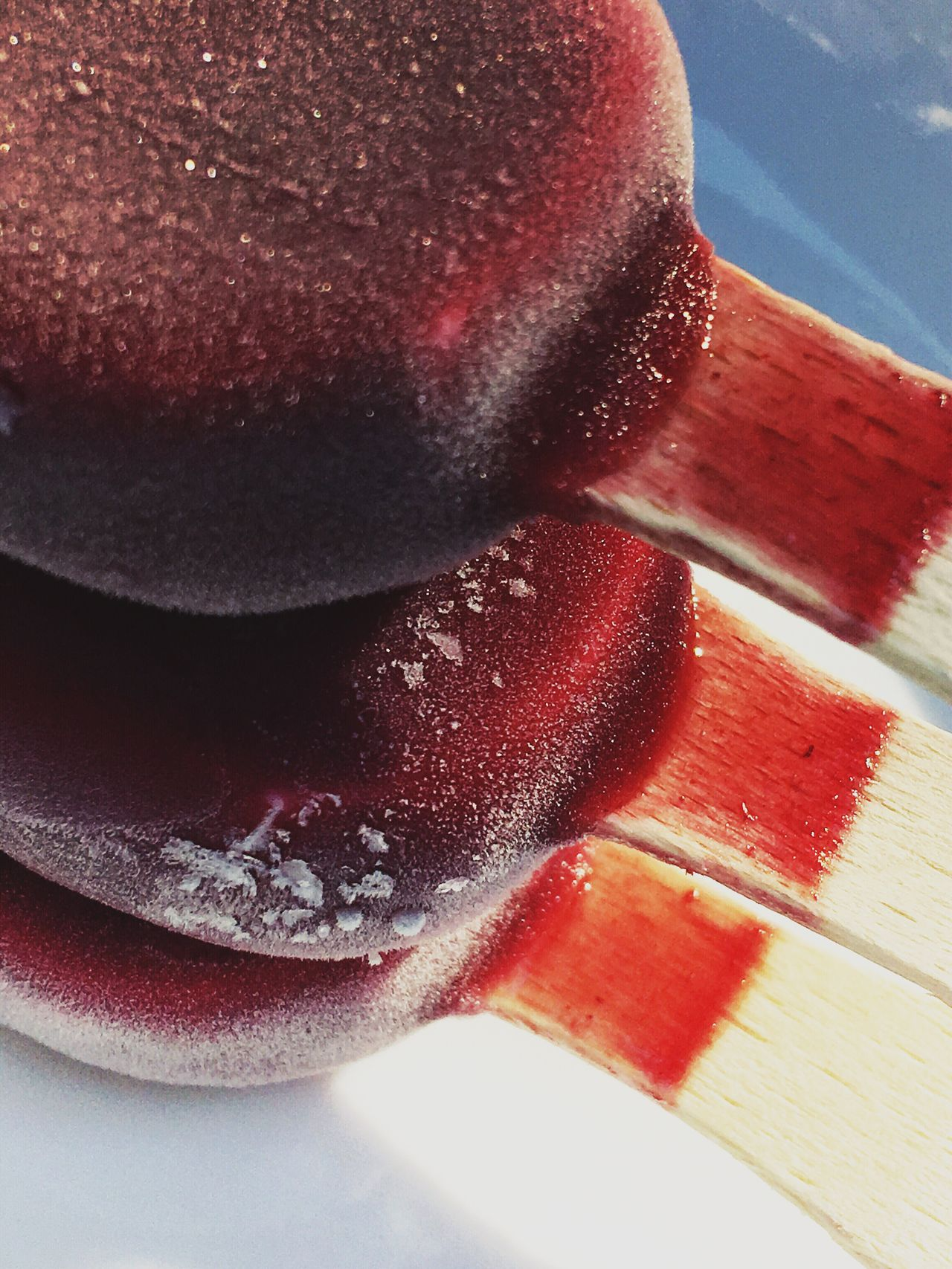 Three Popsicles Food And Drink Indoors  Sweet Food Food Frozen Food Flavored Ice Red Close-up Cold Temperature Table No People Dessert Day Refreshment Freshness Ready-to-eat Vertical Photography Color Image