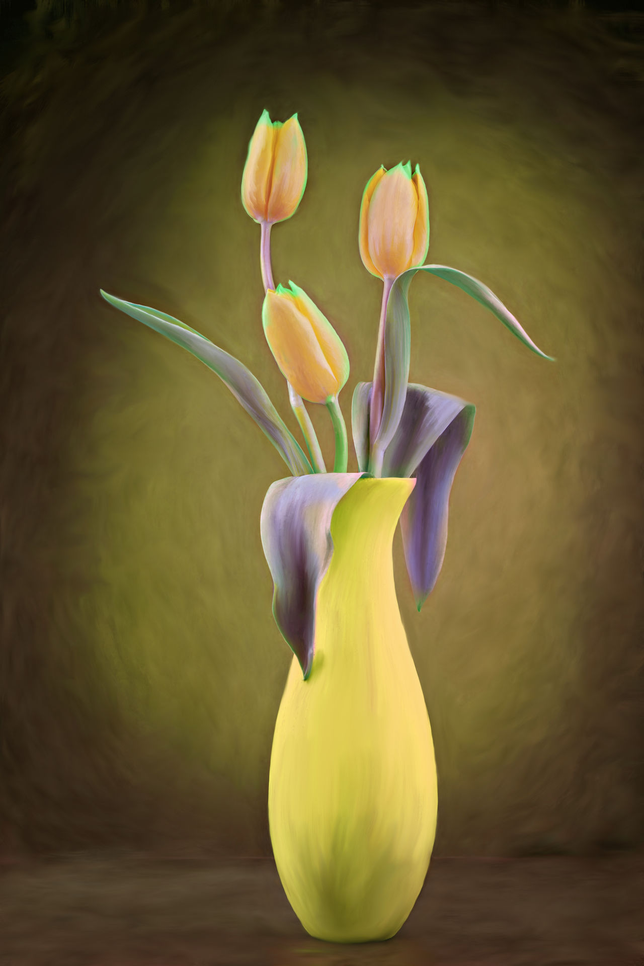 bunch of tulips in a vase on the table, a photograph with a painting filter effect Arrangement, Beautiful, Blossom, Bouquet, Bunch, Color, Flowers, Freshness, Gift, Nature, Objects, Spring, Table, Tulips, Vase Flower Gift Painting Plant Still Life Tulips Yellow