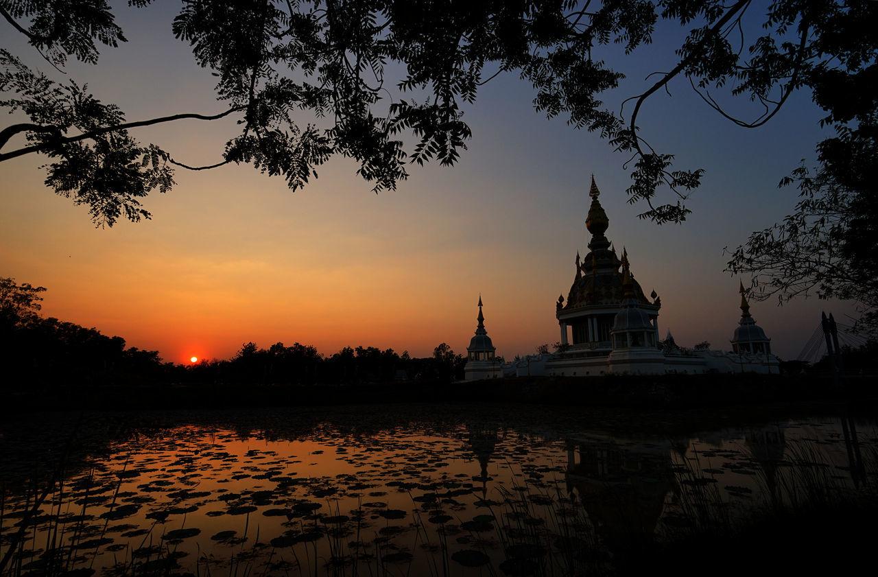 Architecture Dusk Dusk Sky Landscape Lotus Pond Outdoors Pagoda Place Of Worship Reflection Religion Sunset Sunset Silhouettes Tree Water